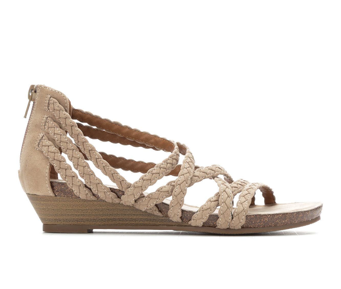 Women's Vintage 7 Eight Odessa Strappy Wedge Sandals Taupe