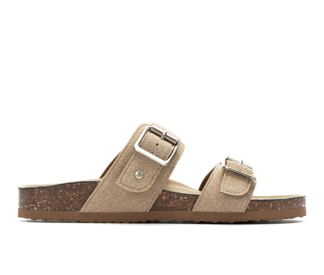 Women's Madden Girl Brando Footbed Sandals Taupe Suede