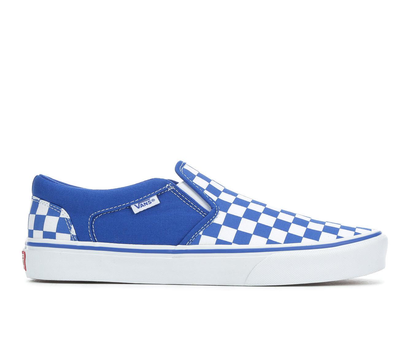 Men's Vans Asher Slip-On Skate Shoes Blu/Wht Check