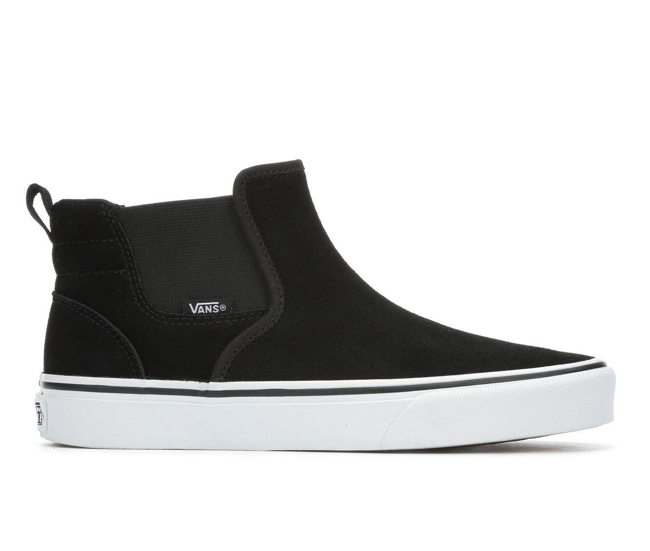 Women's Vans Asher Mid Skate Shoes Black/White