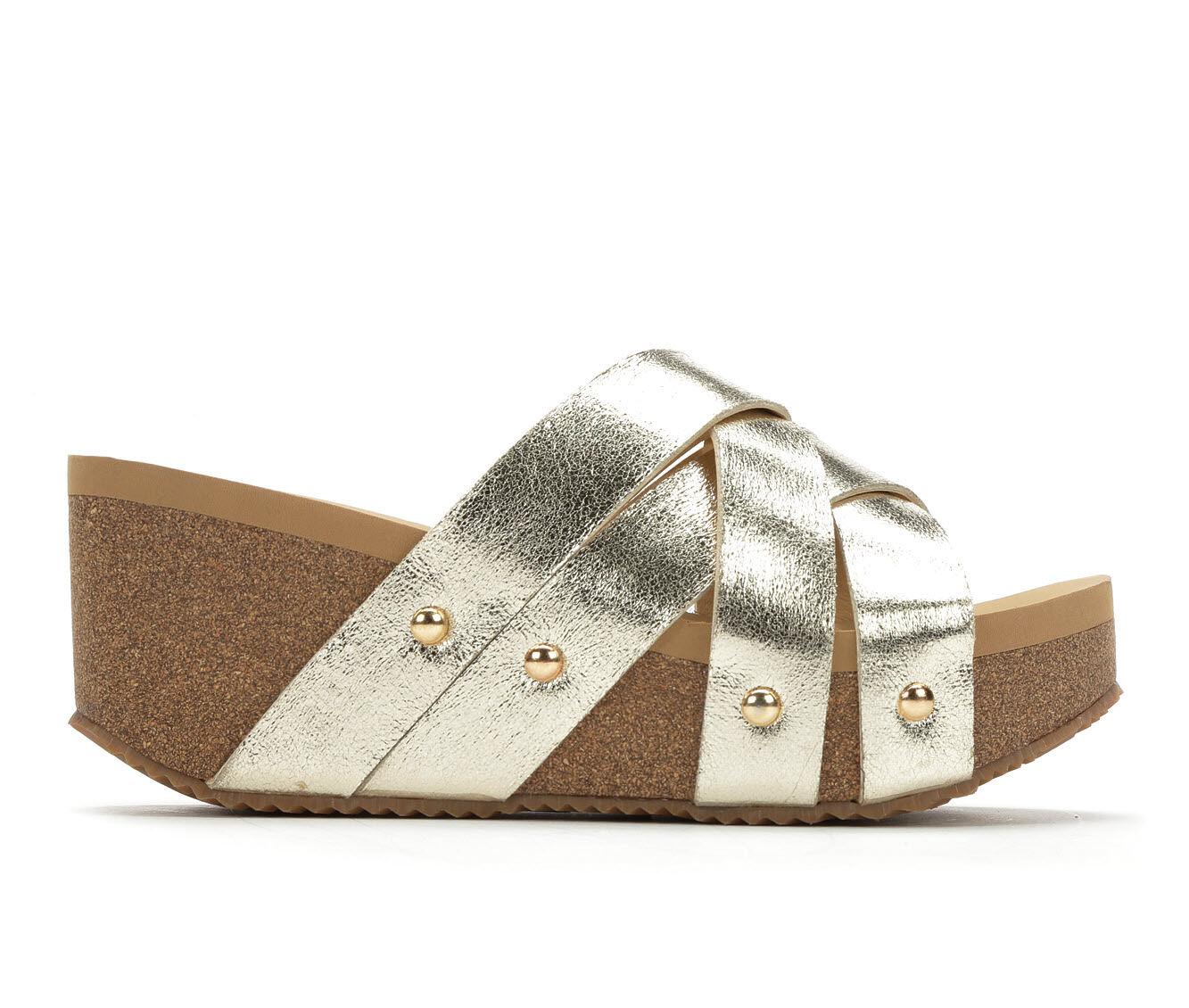 buy new style Women's Volatile Ethereal Platform Wedge Slide Sandals Gold