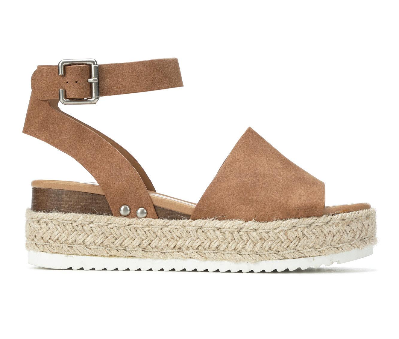 Women's Soda Topic Flatform Sandals Tan