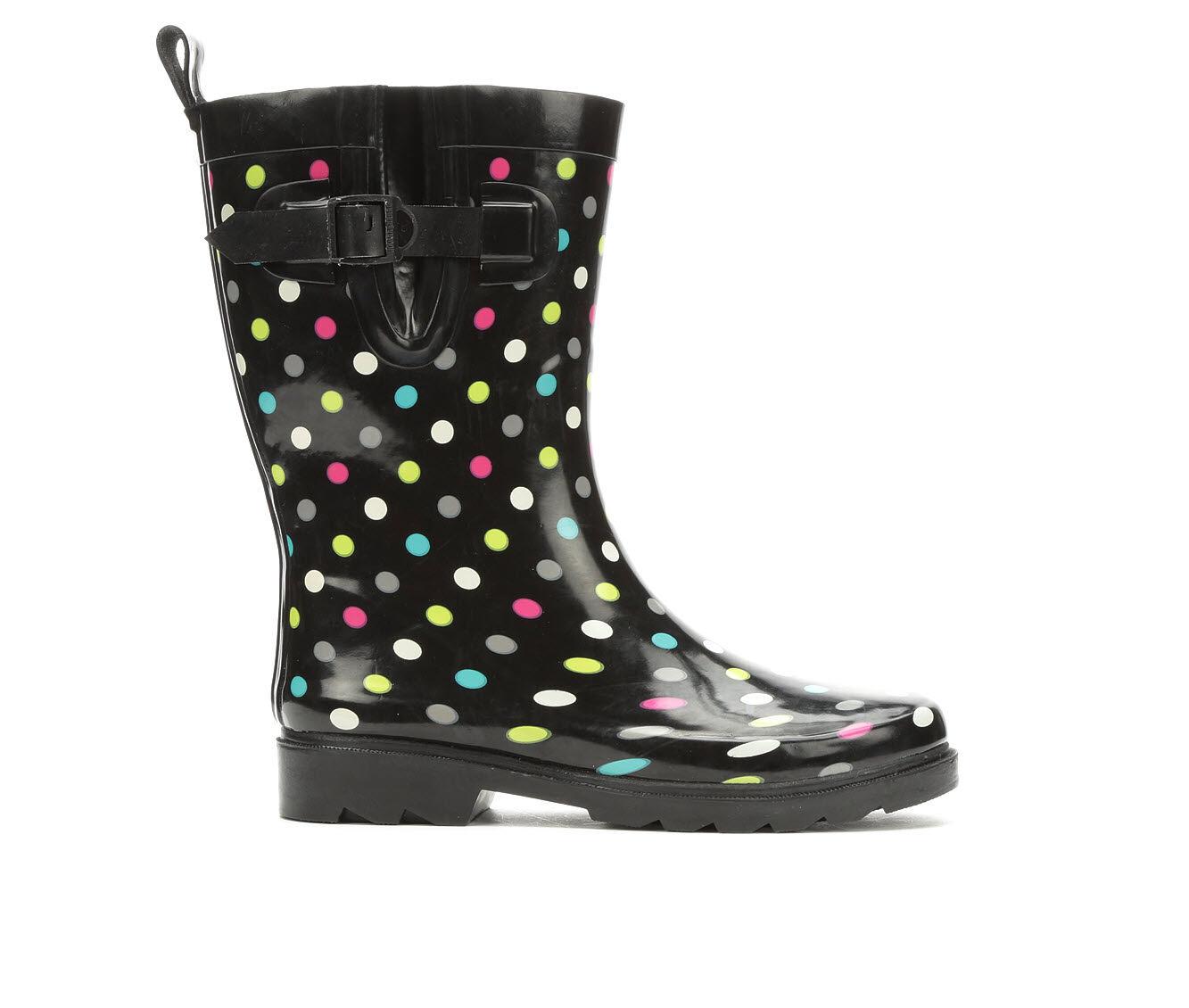 Women's Capelli New York Shiny Multi Dots Mid Rain Boots Multi Rainbow
