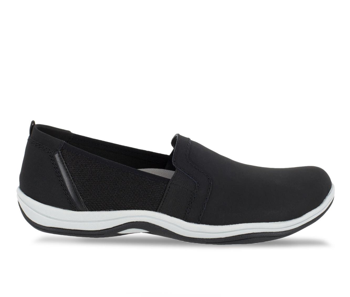 Women's Easy Street Mollie Slip-Ons Black Lea/Mesh