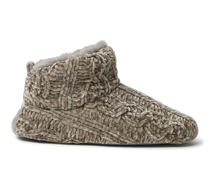 Dearfoams Marled Cable Knit Chenille Bootie