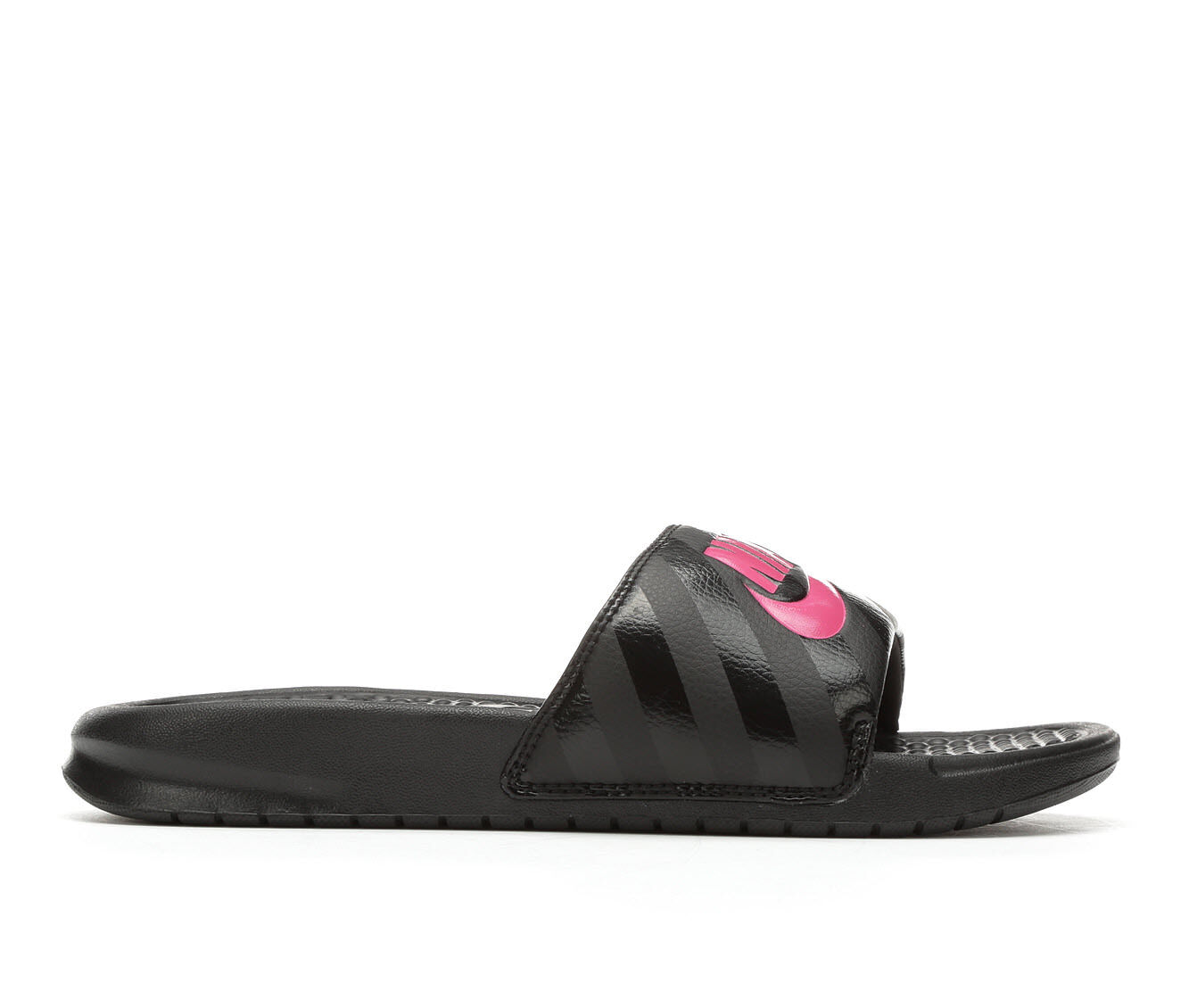 latest series Women's Nike Benassi JDI Slide Sandals Black/Pink