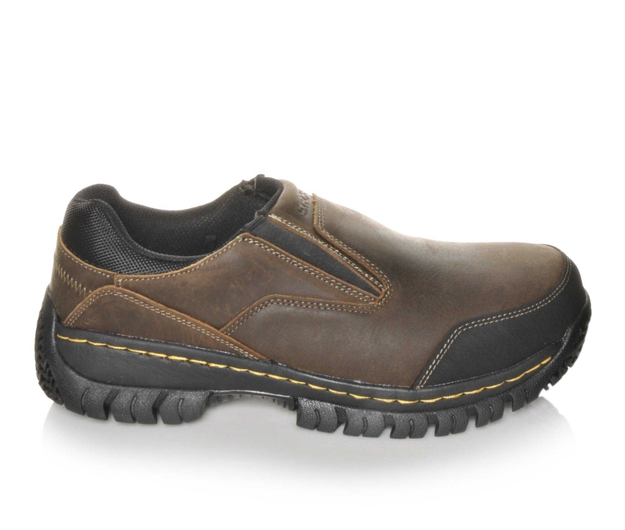 Best Selling Men's Skechers Work 77066 Hartan Steel Toe Work Shoes Dark Brown