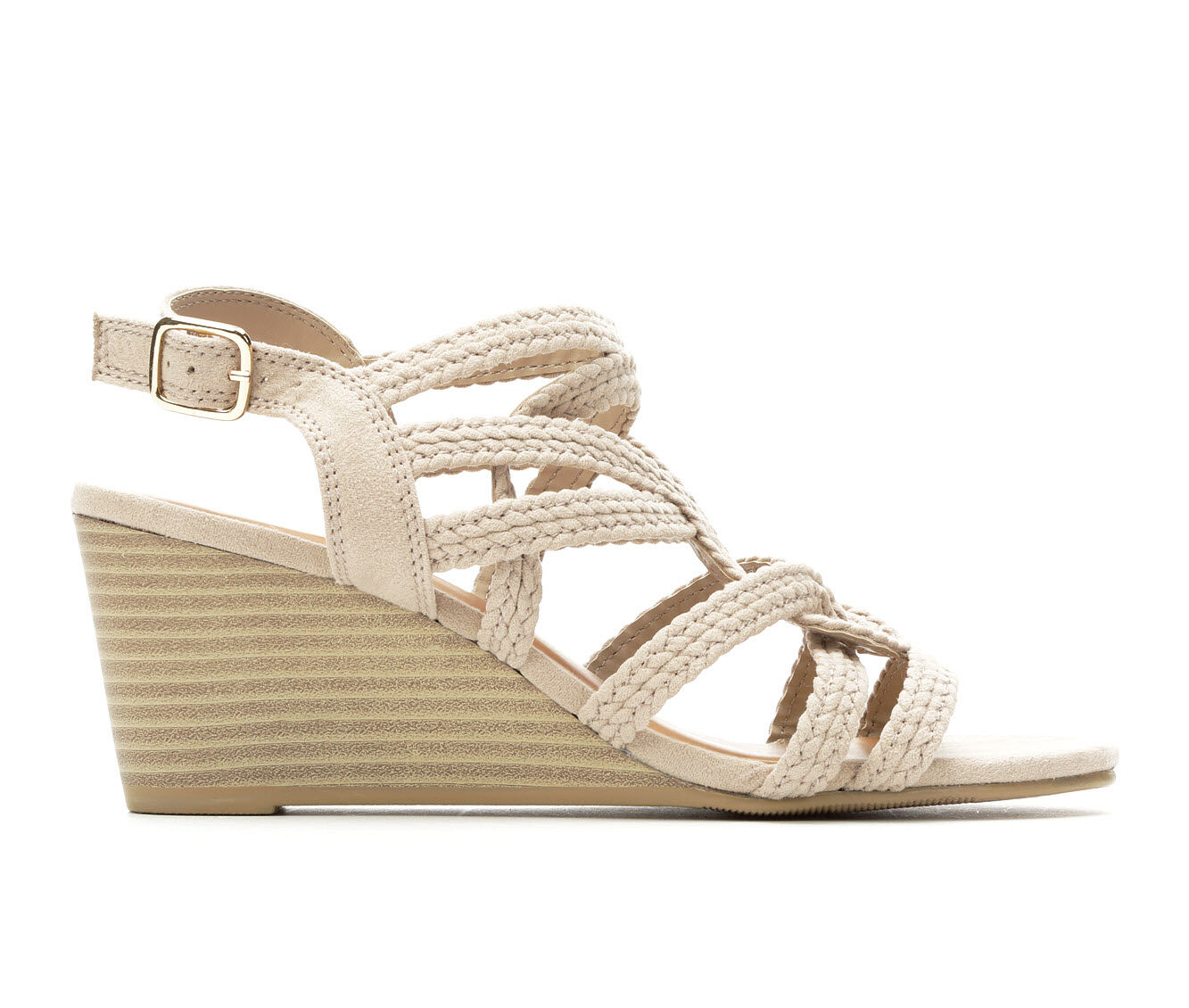 Women's Y-Not Zaidee Strappy Wedge Sandals Oatmeal