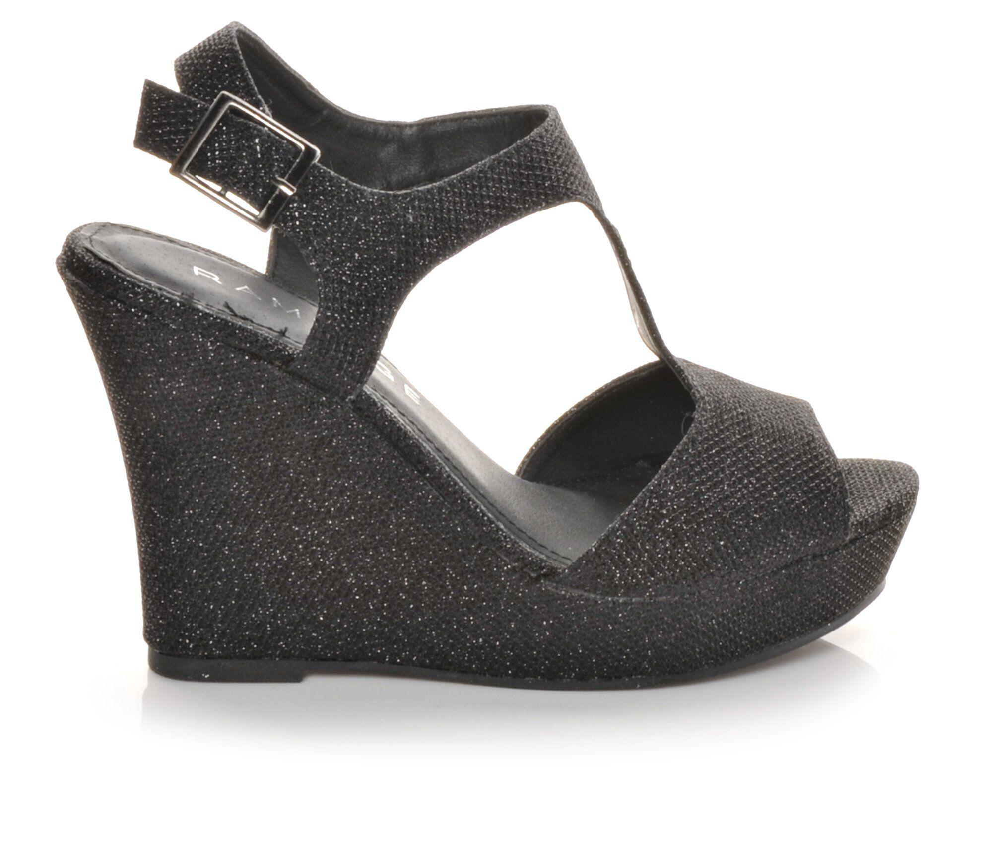 Women's Rampage Candelas Wedge Dress Sandals Black Glitter