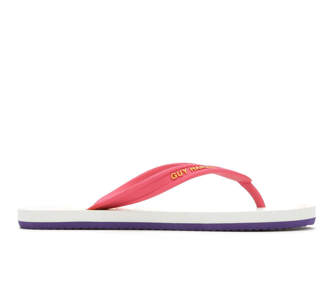 Women's Guy Harvey Cayman Angelfish Camo Flip-Flops Honeysuckle