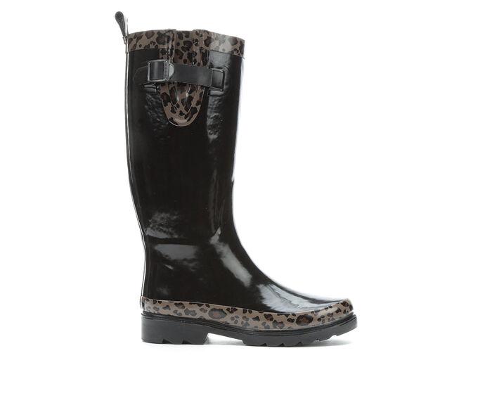Women's Capelli New York Shiny Leopard Rain Boots