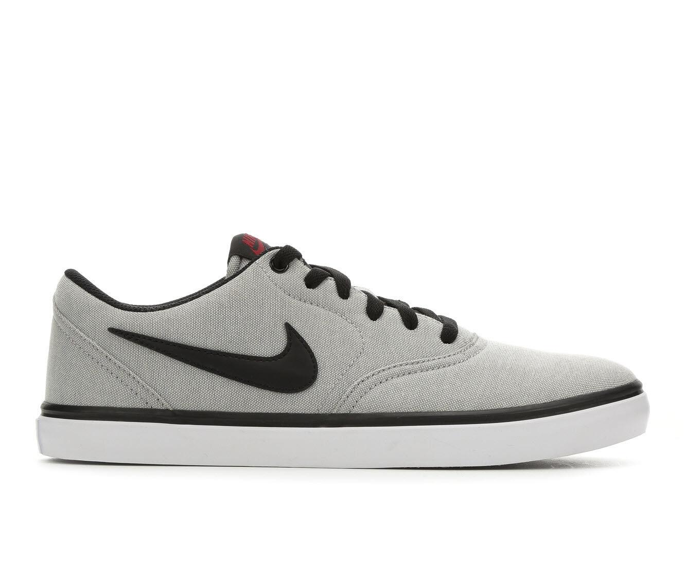 Men's Nike SB Check Solar Canvas Skate Shoes Gry/Blk/Wht 016