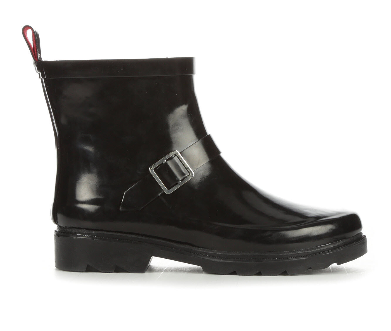 Women's Capelli New York Shiny Solid Short Rain Boots Black