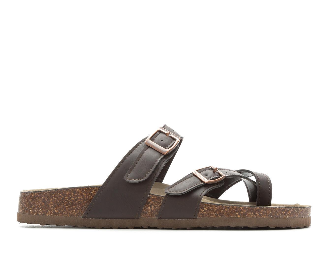 Women's Madden Girl Bryceee Footbed Sandals Dark Brown