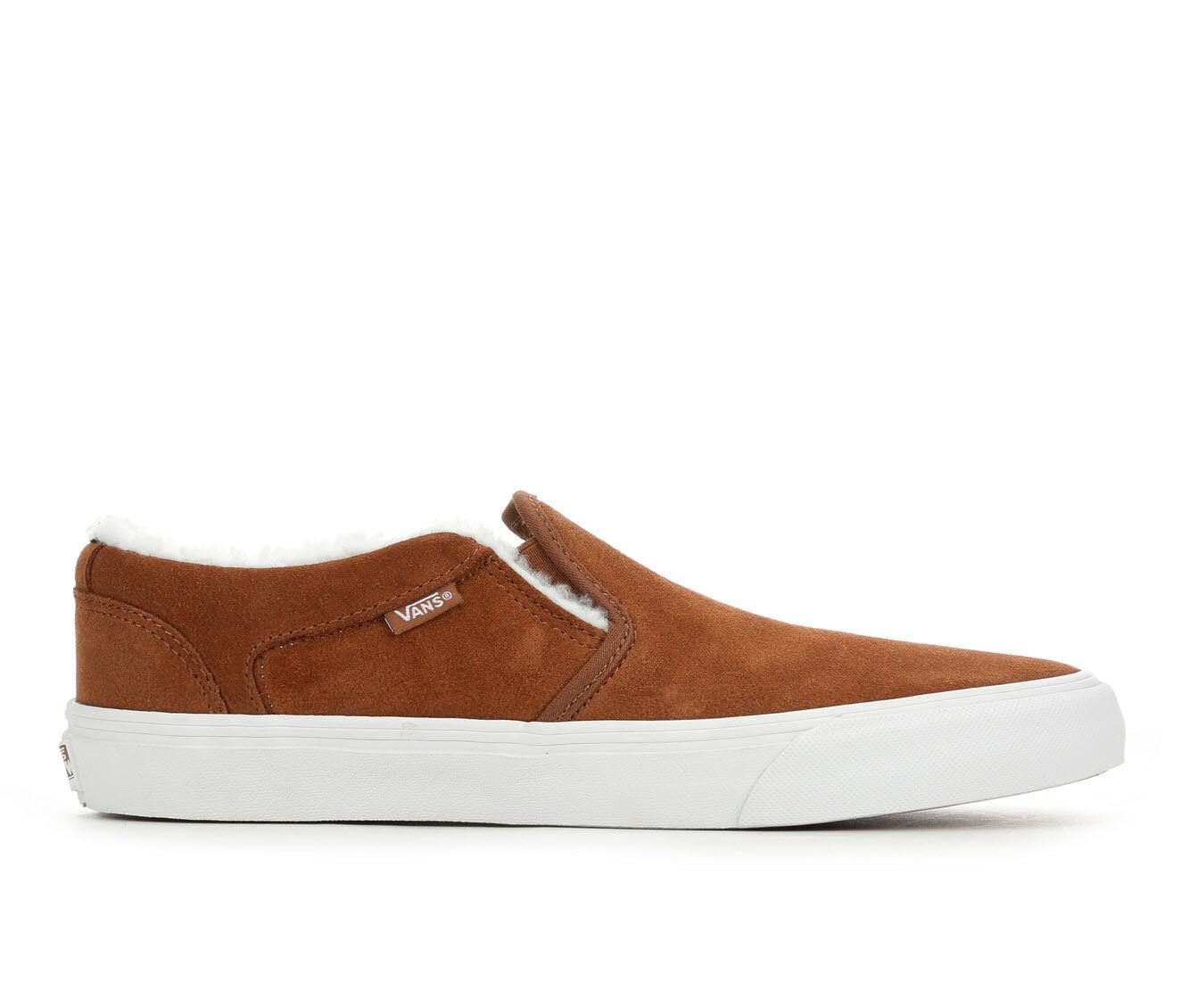 Men's Vans Asher-Deluxe Skate Shoes Brn/Wht Sherpa