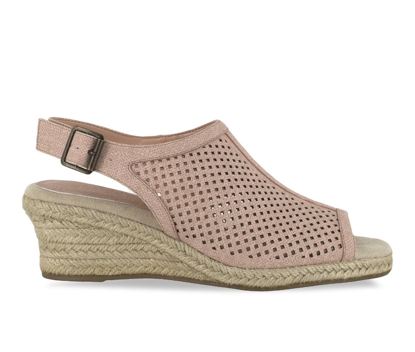 Women's Easy Street Stacy Wedge Sandals Blush Linen Pt