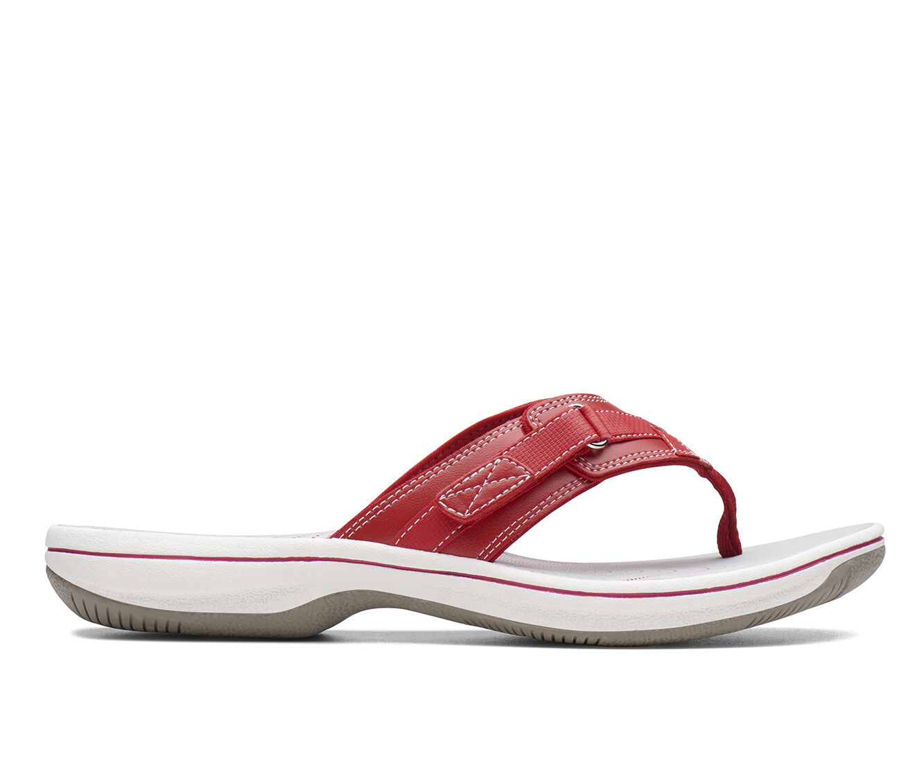 global ship Women's Clarks Breeze Sea Sandals Red Syn