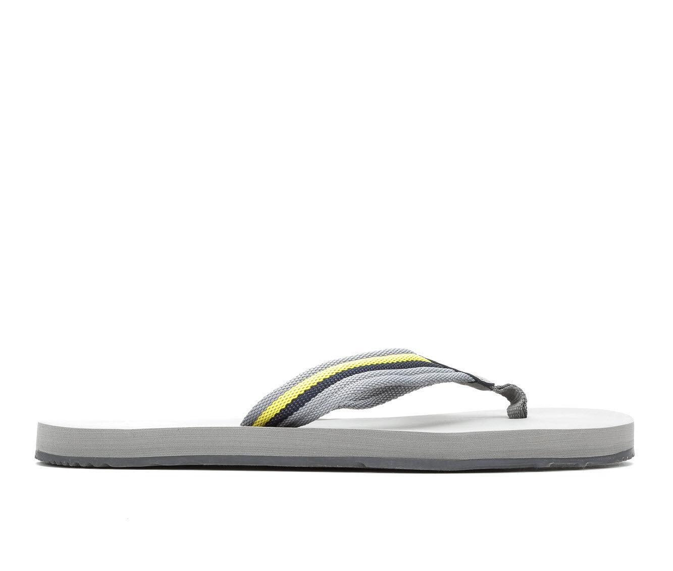 UK Sale Men's Sperry Topsail Thong Flip-Flops Grey/Yellow