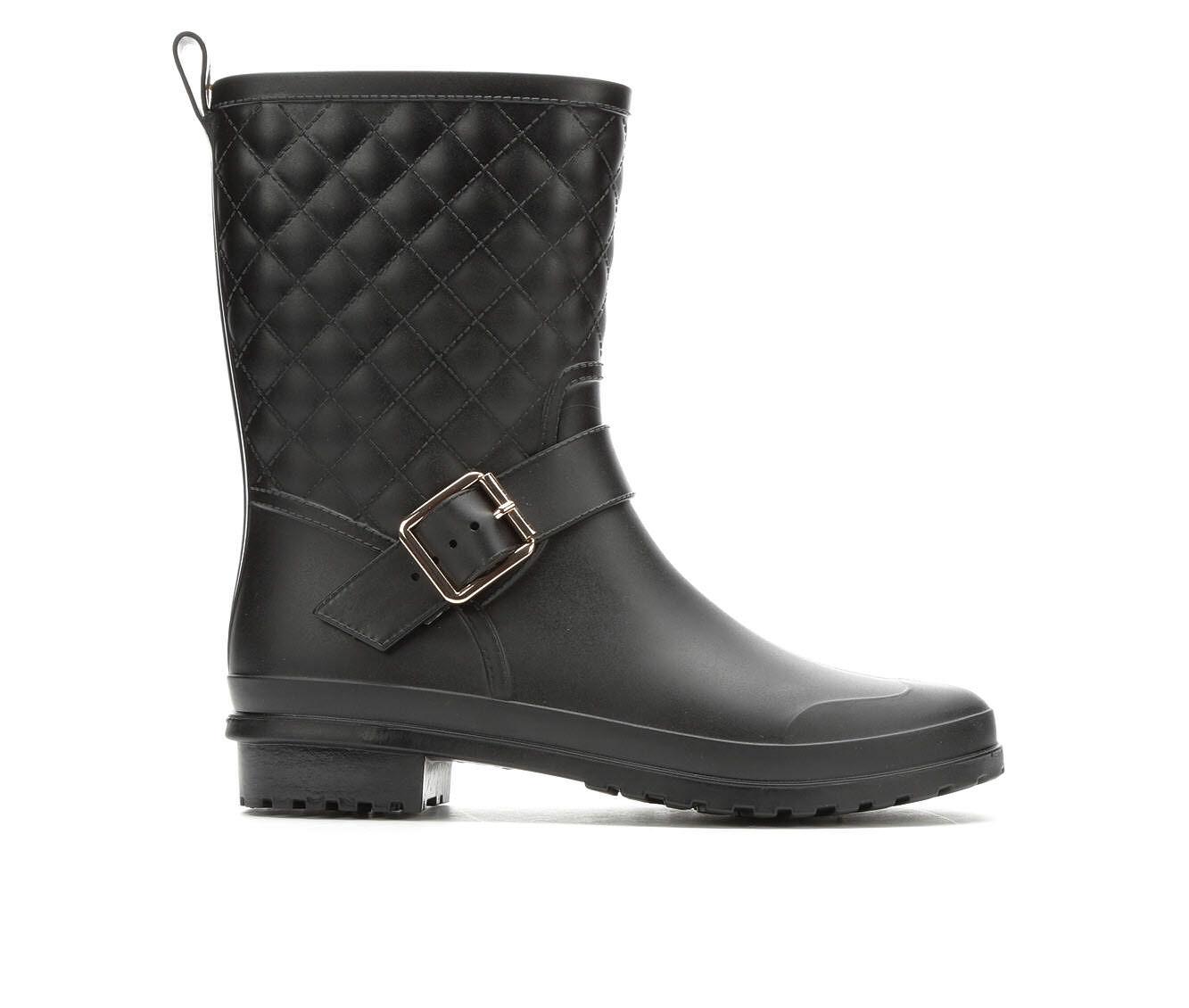 Women's Capelli New York Matte Quilt Mid Rain Boots Black