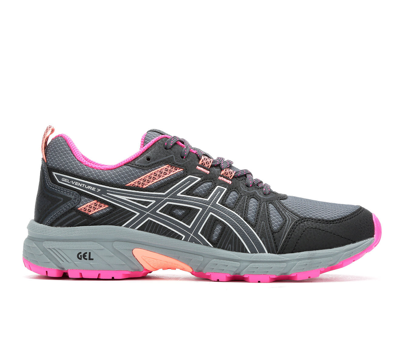 Women's ASICS Gel Venture 7 Trail Running Shoes Grey/Silv/Pink