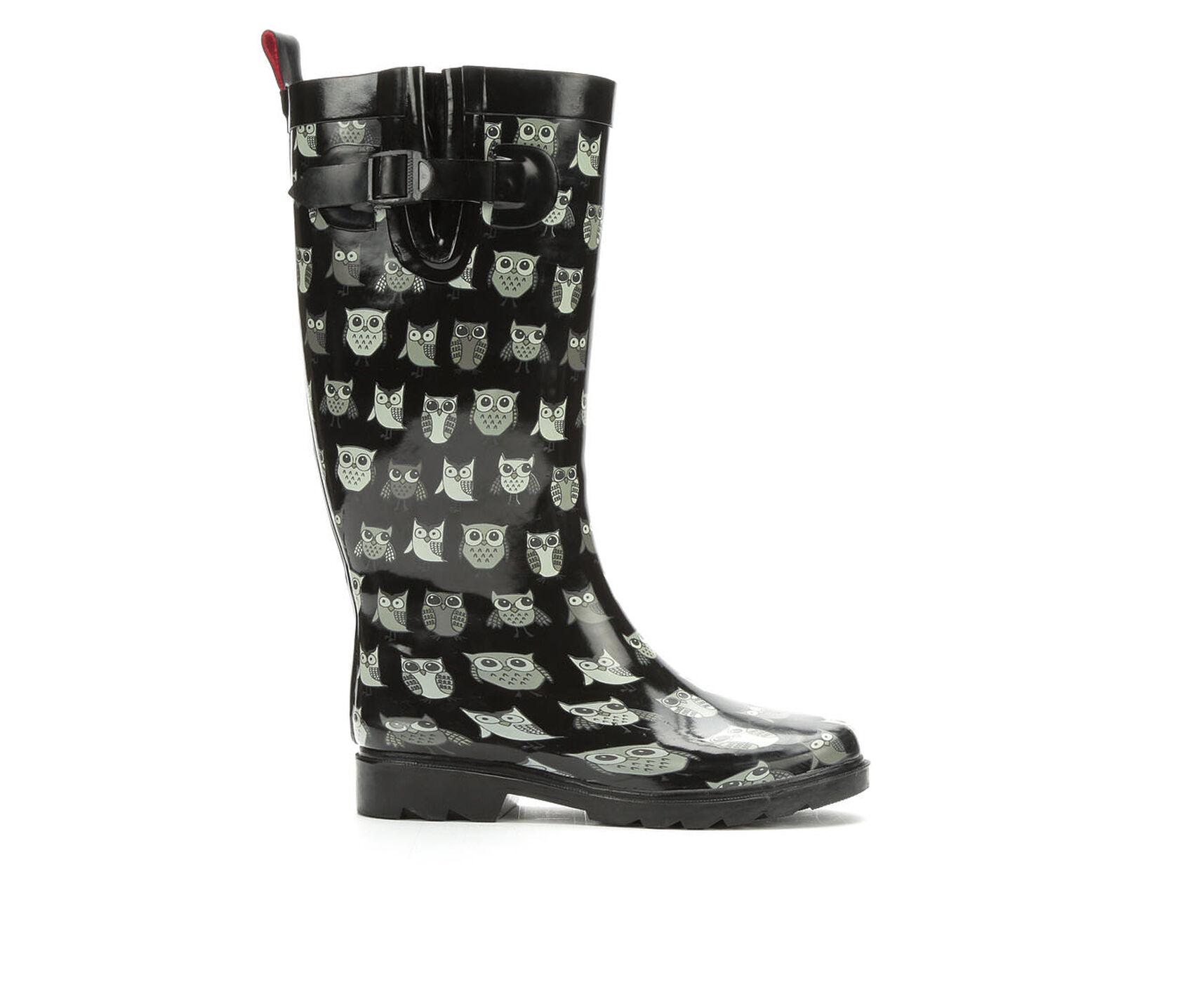 a407a0ce360 Women's Capelli New York Pop Owls Rain Boots   Shoe Carnival