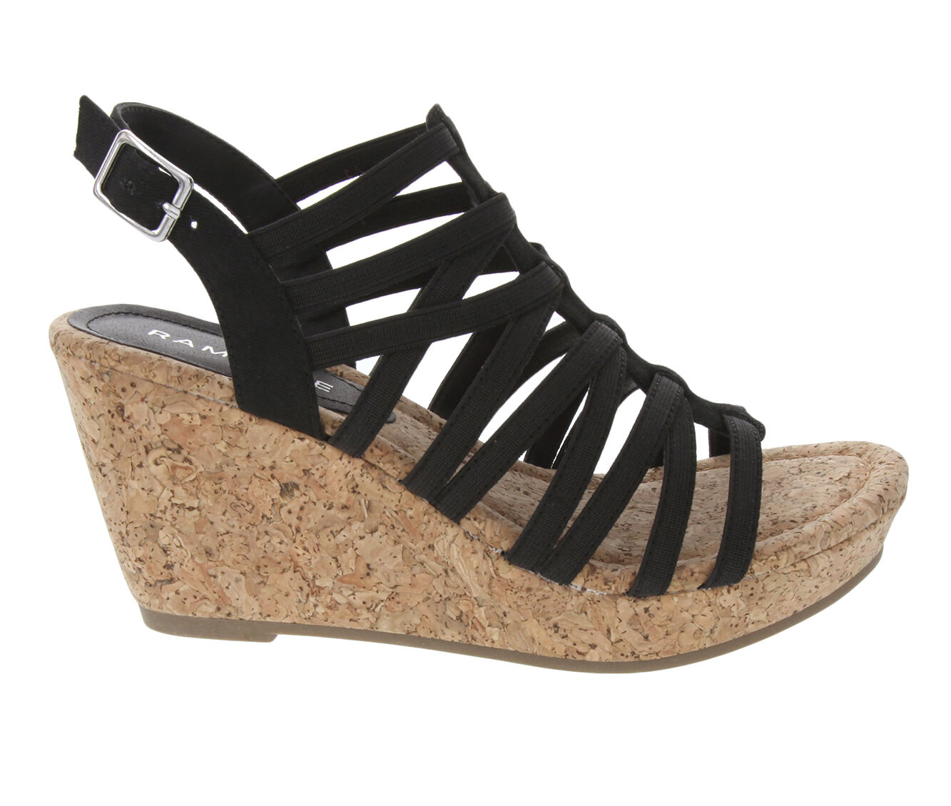 Women's Rampage Josie Wedges Black Stretch