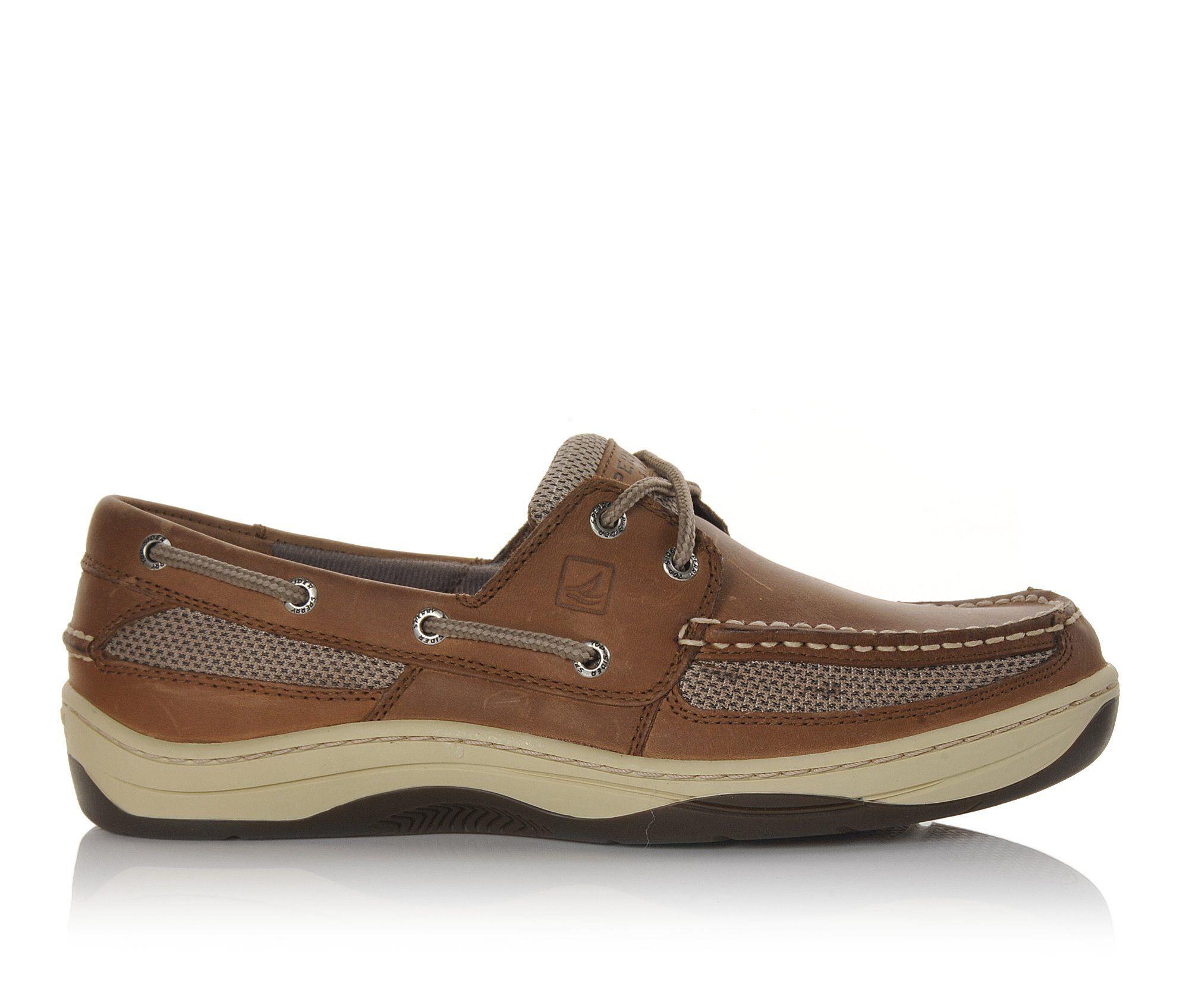 Men's Sperry Tarpon 2 Eye Boat Shoes Dk. Tan Leather