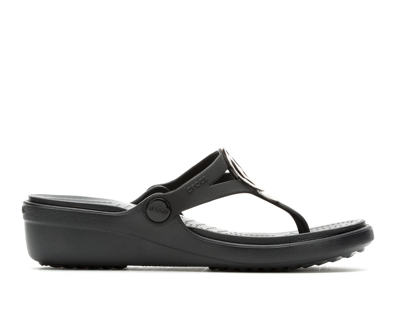 Purchase Price Women's Crocs Sanrah Metallic Wedge Gunmetal/Blk