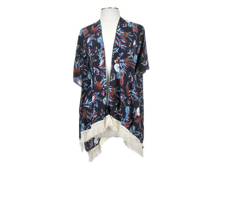 Rampage Multi Color Floral Kimono with Fringe