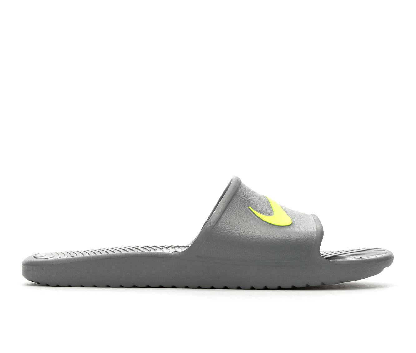 Large Discount Men's Nike Kawa Shower Sport Slides Grey/Volt