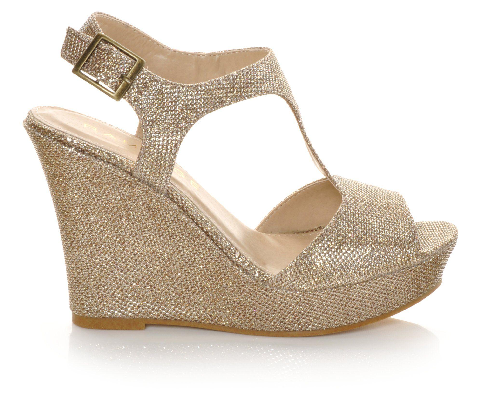 Women's Rampage Candelas Wedge Dress Sandals Blush Glitter