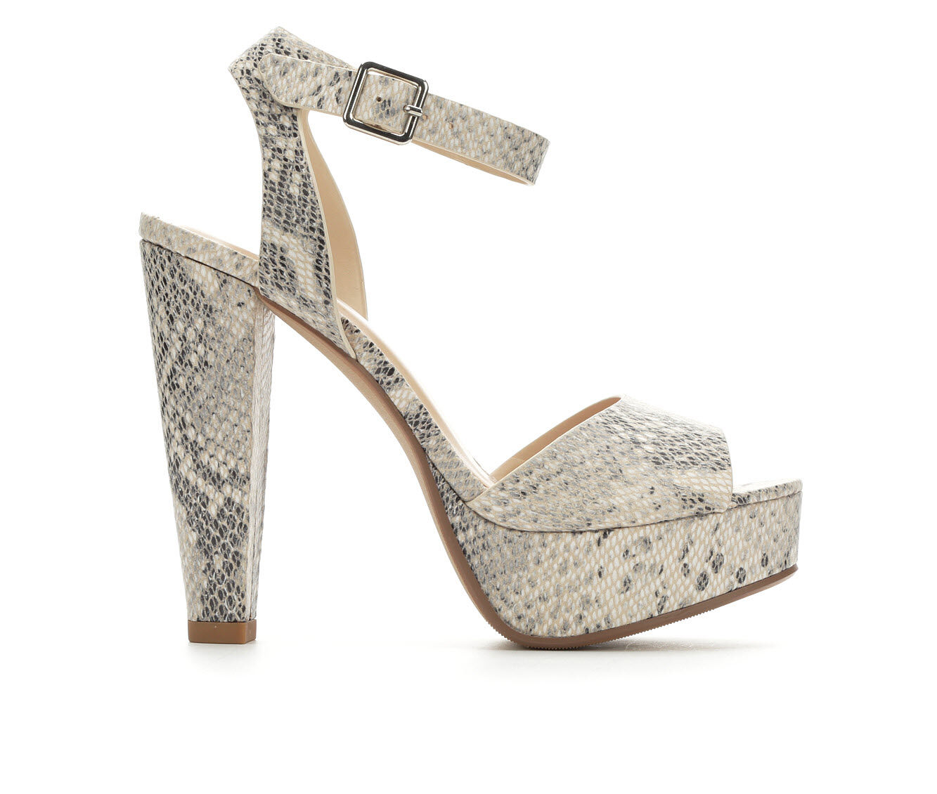 Women's Delicious Purify Heeled Sandals Beige Python