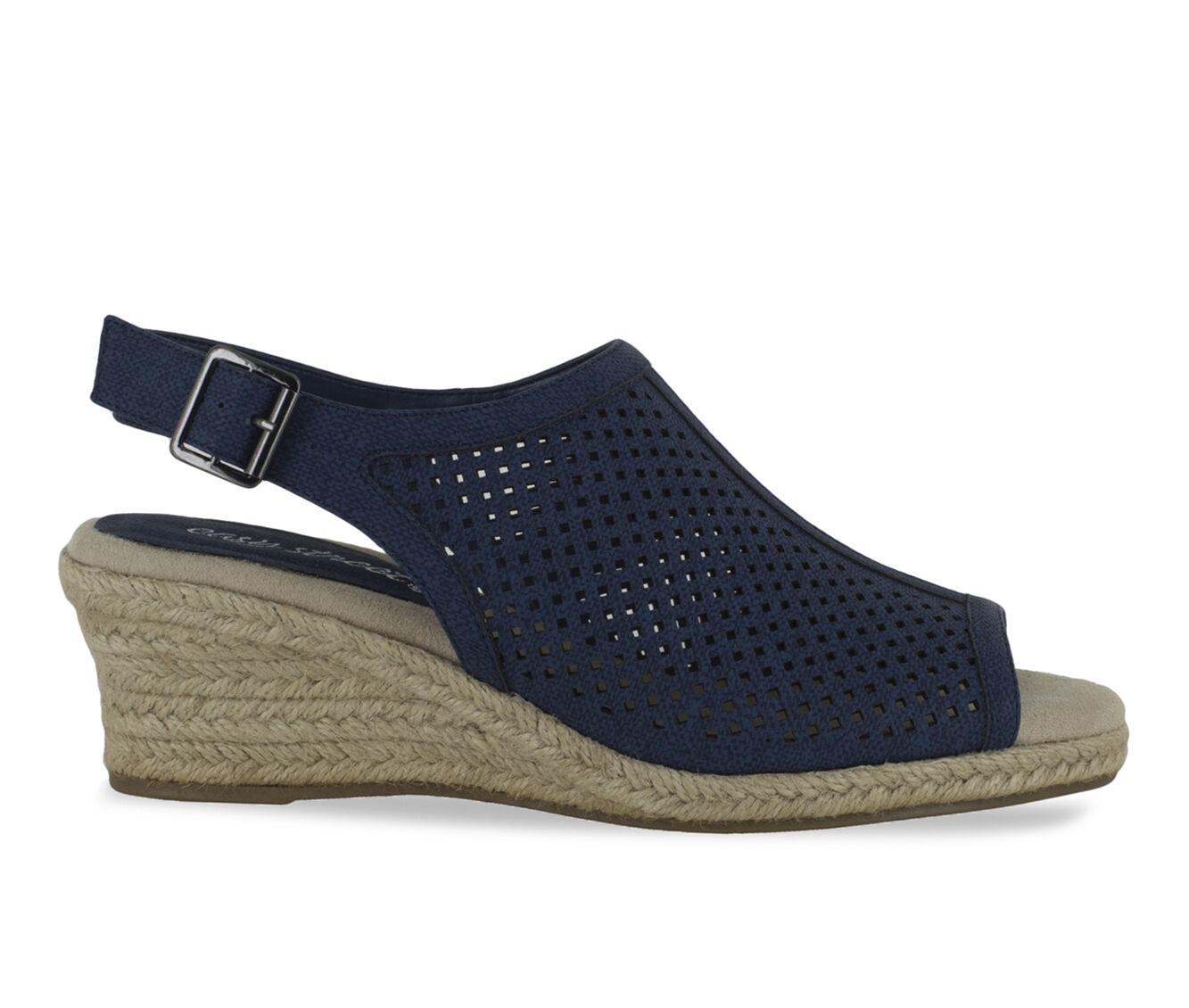Women's Easy Street Stacy Wedge Sandals Denim Linen Pt