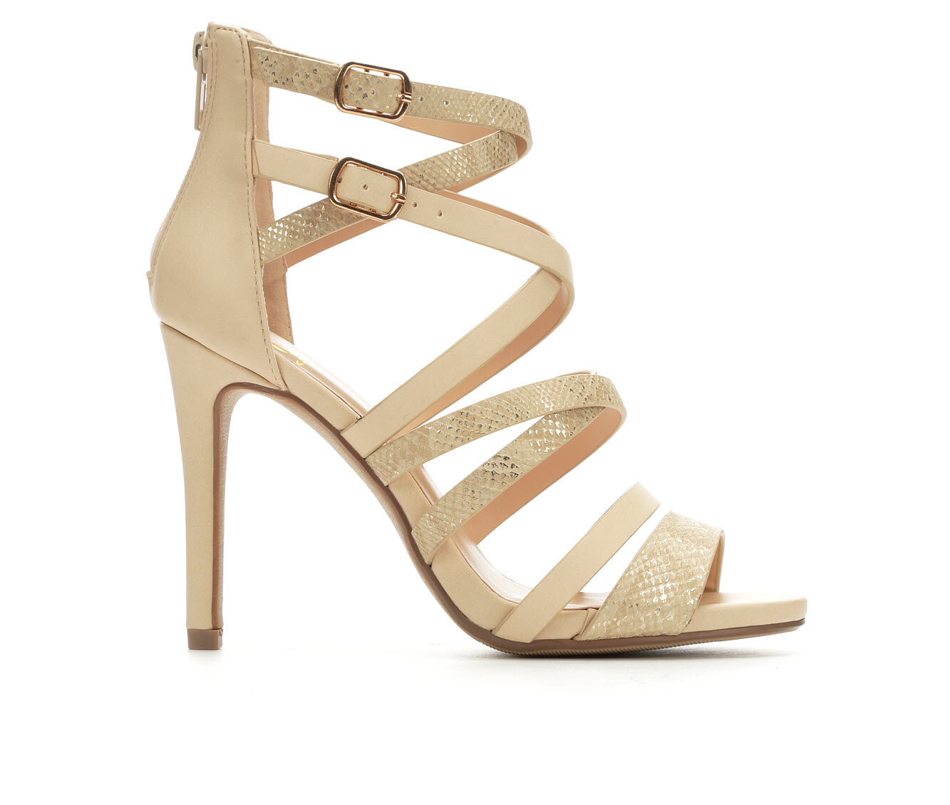 Women's Delicious Cage Strappy Heeled Sandals Nude Snake/Gold