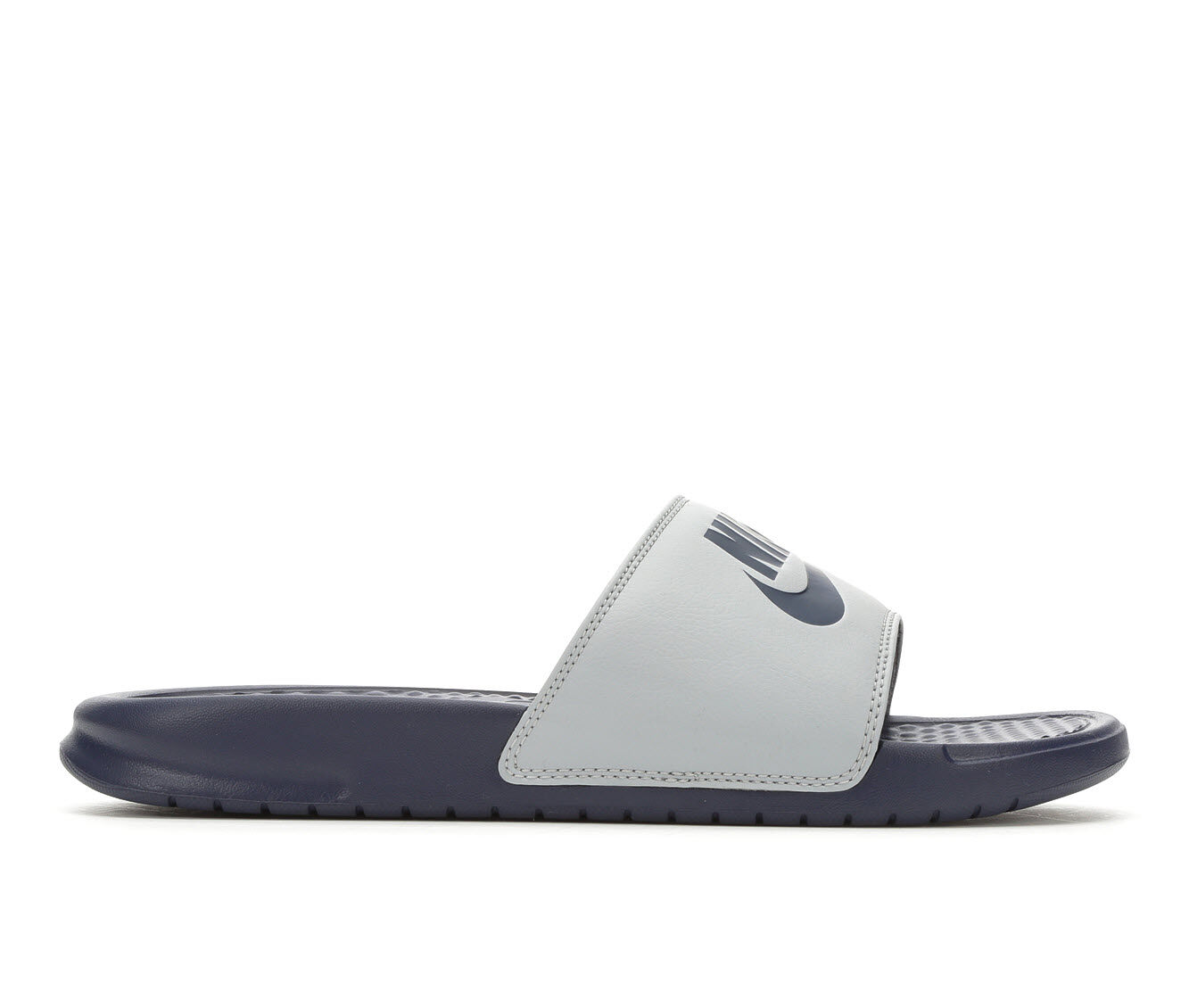 Buy Authentic Men's Nike Benassi JDI Sport Slides Wolf Grey/Navy