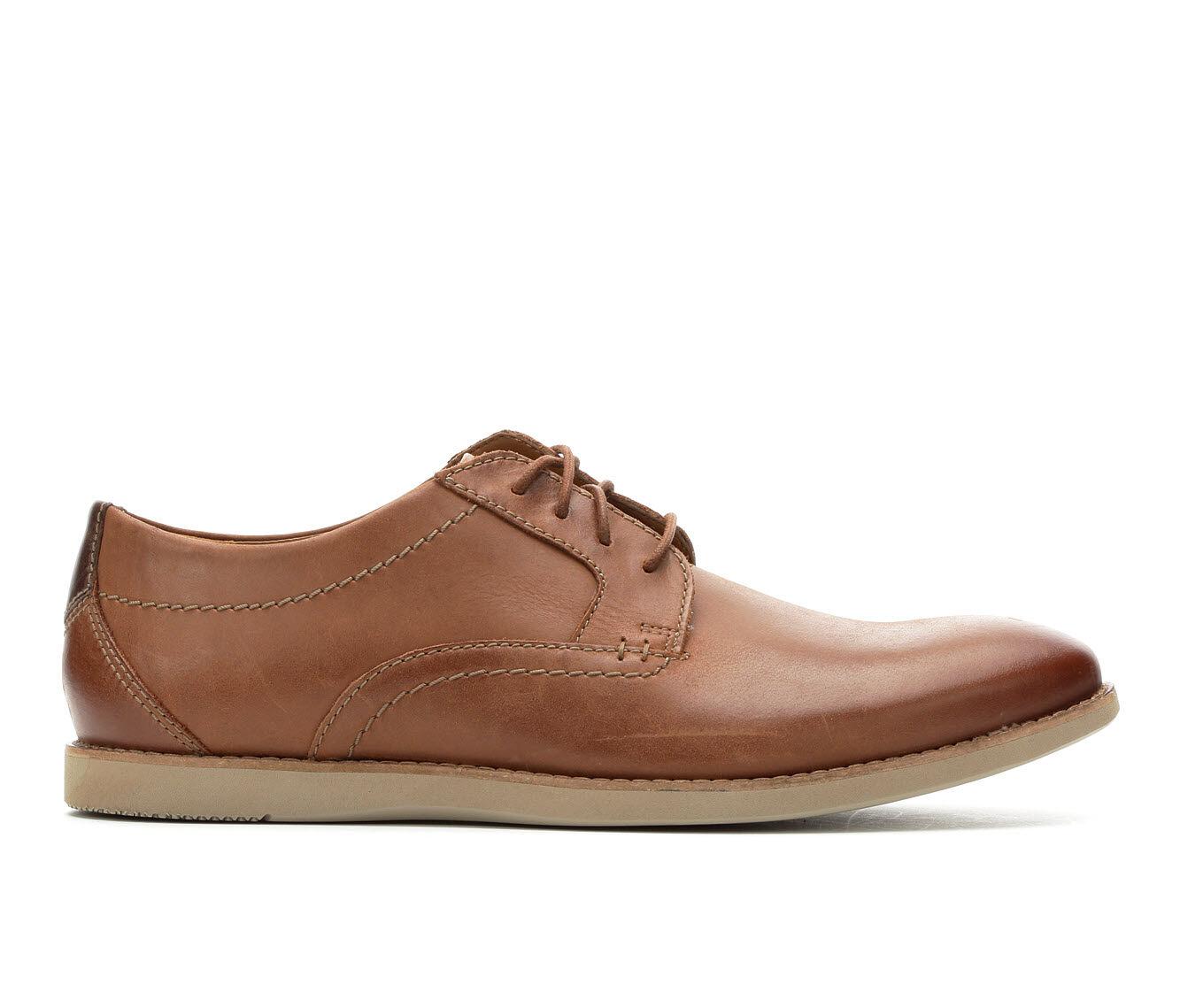 Men's Clarks Raharto Plain Toe Dress Shoes Dark Tan