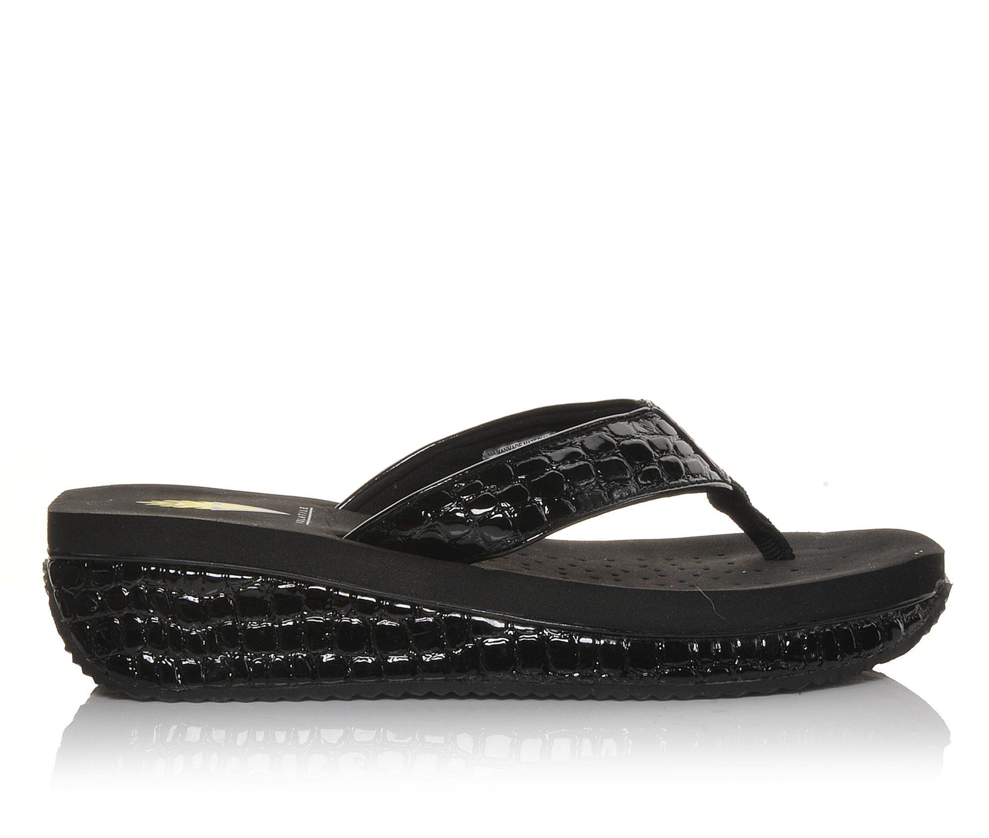 Women's Volatile Mini Croco Sandals (Black)