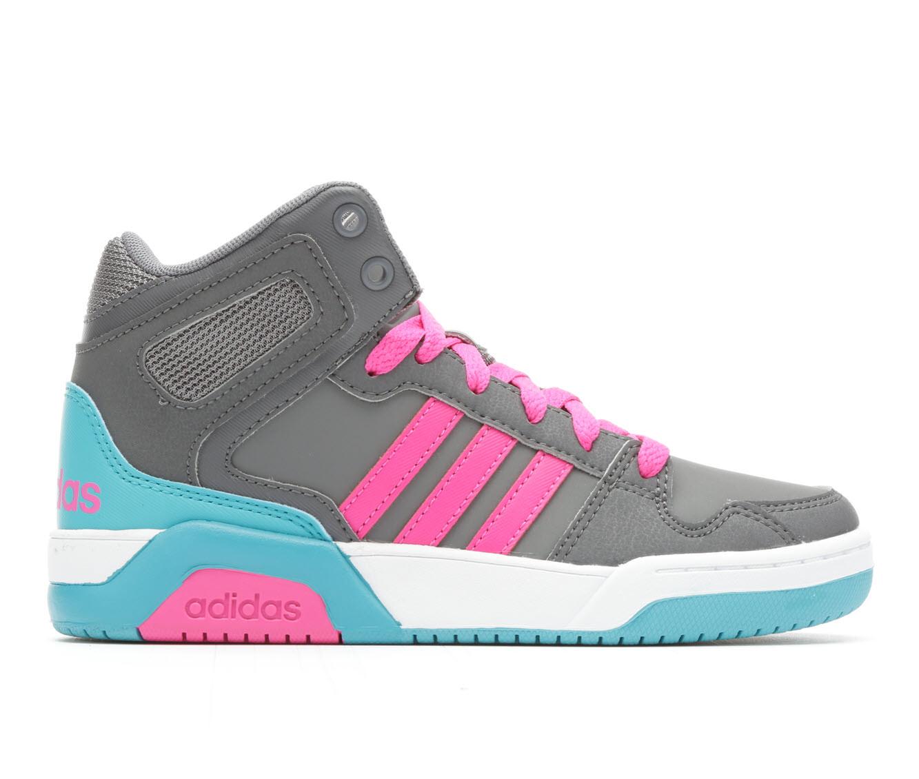 Girls' Adidas BB9TIS Mid K G Basketball Shoes (Grey)