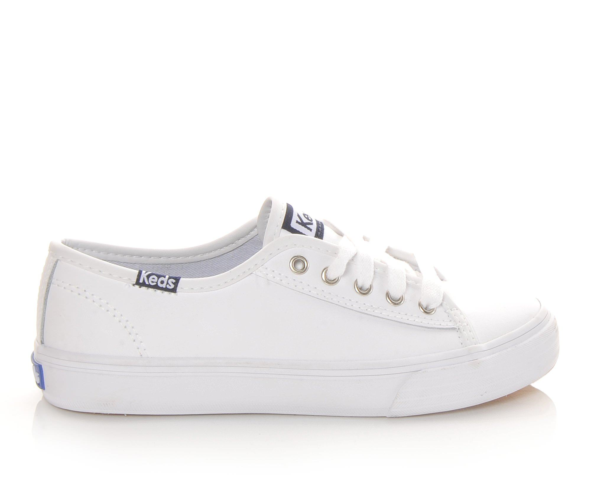 Girls' Keds Double Up Leather Sneakers (White)