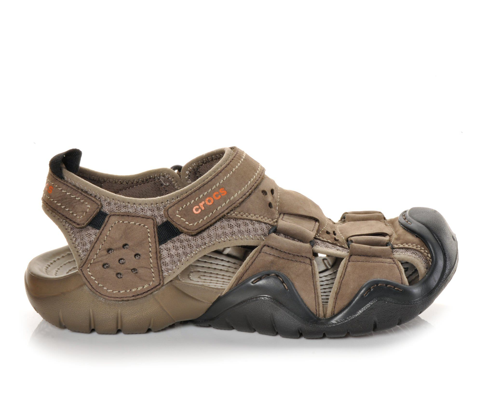 Men's Crocs Swiftwater Leather Fisherman Sandals (Brown)