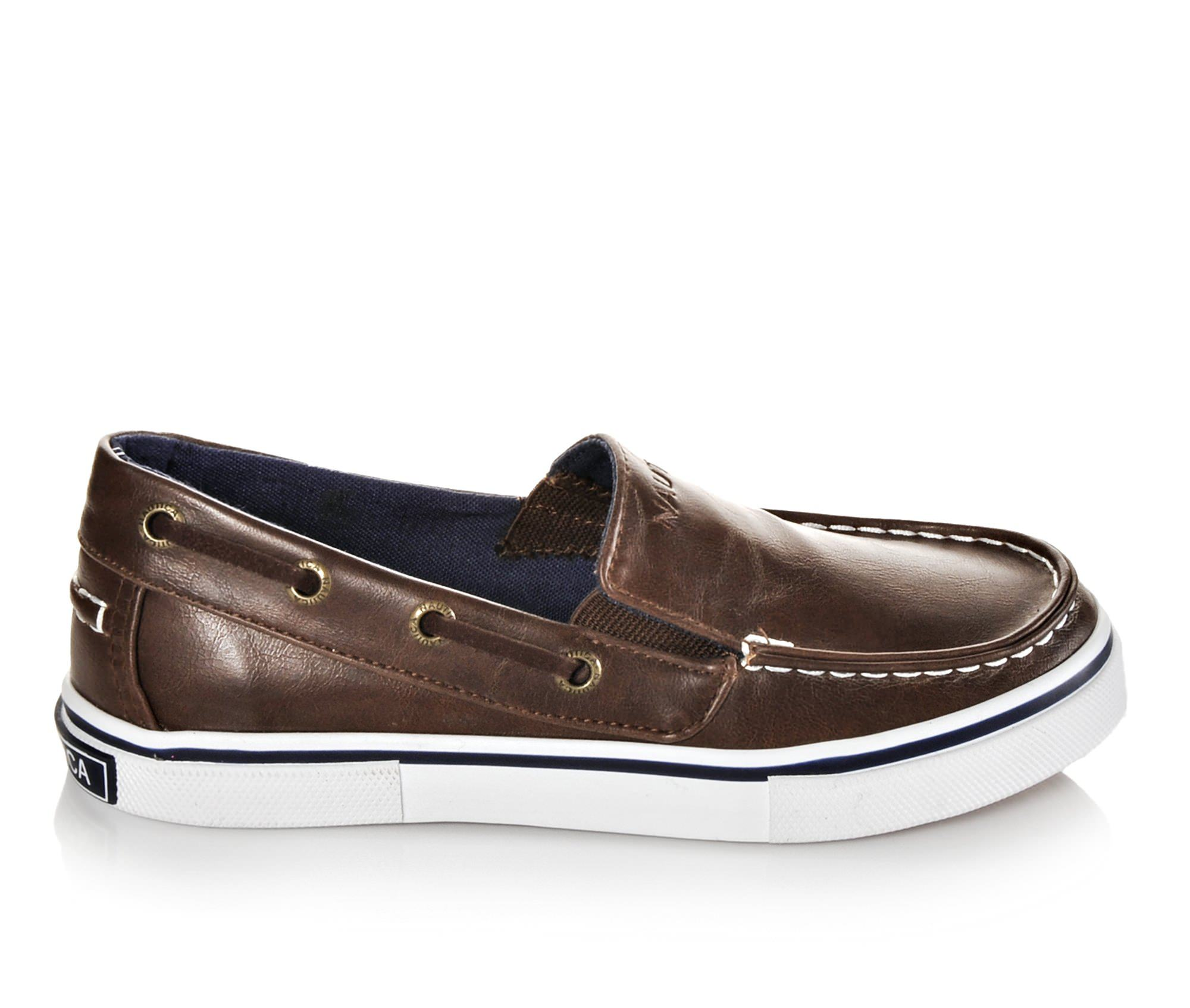 Boys' Nautica Doubloon Leather Boat Shoes (Brown)