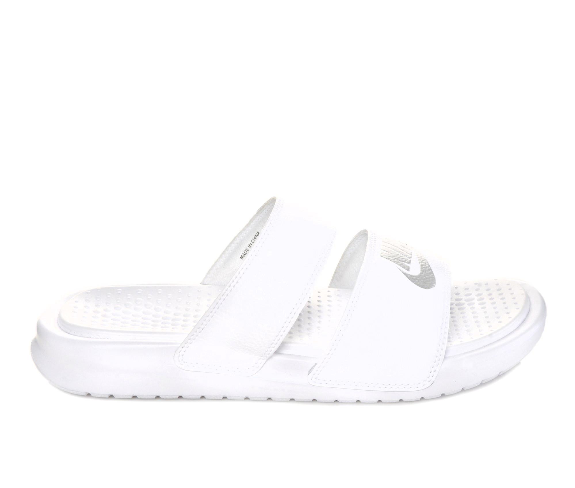 Women's Nike Benassi Duo Sport Slides (White)