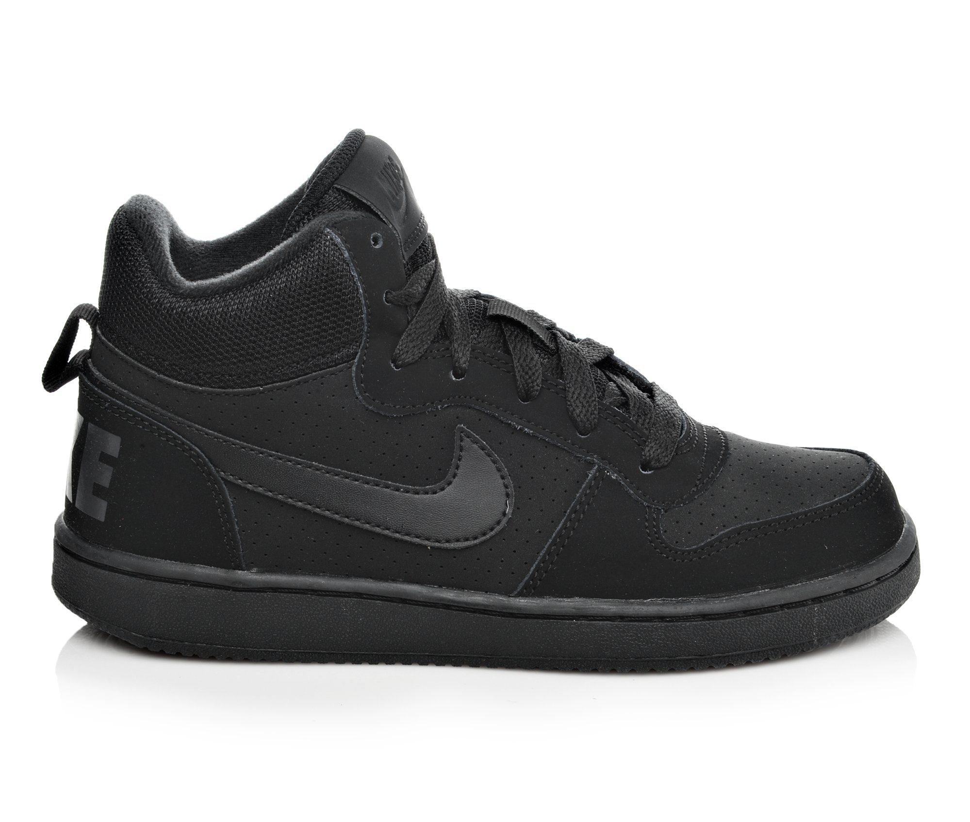Boys' Nike Court Borough Mid Sneakers (Black)