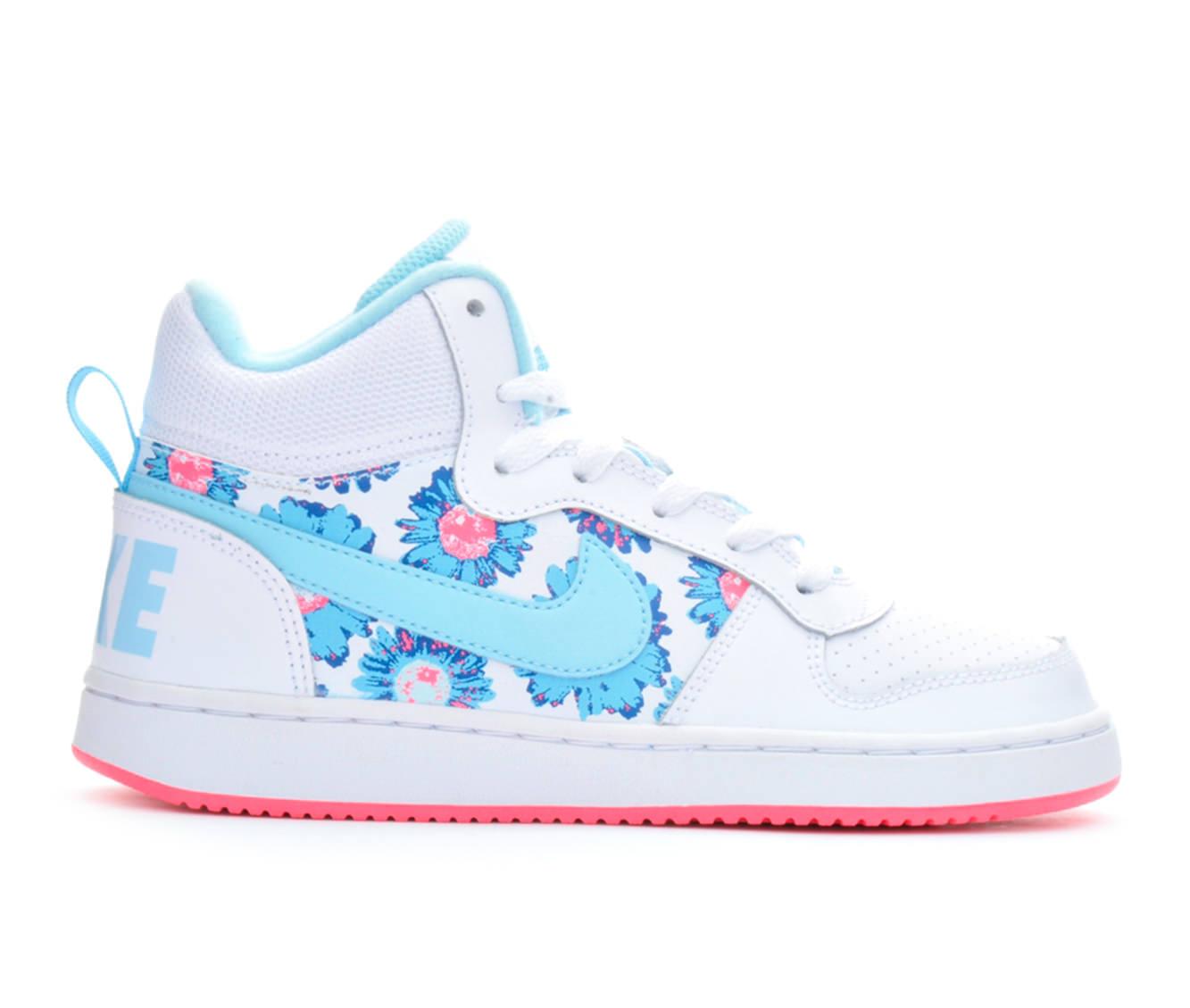 Girls' Nike Court Borough Mid Print Sneakers (White)