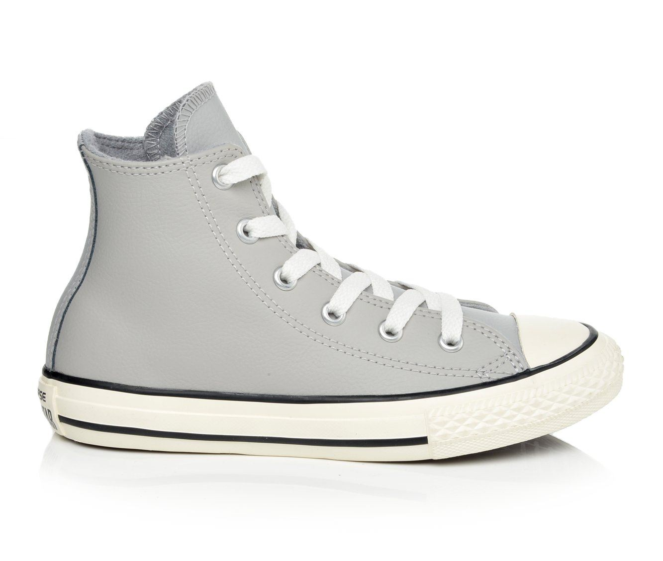 Girls' Converse Chuck Taylor All Star Hi Leather Sneakers (Grey)