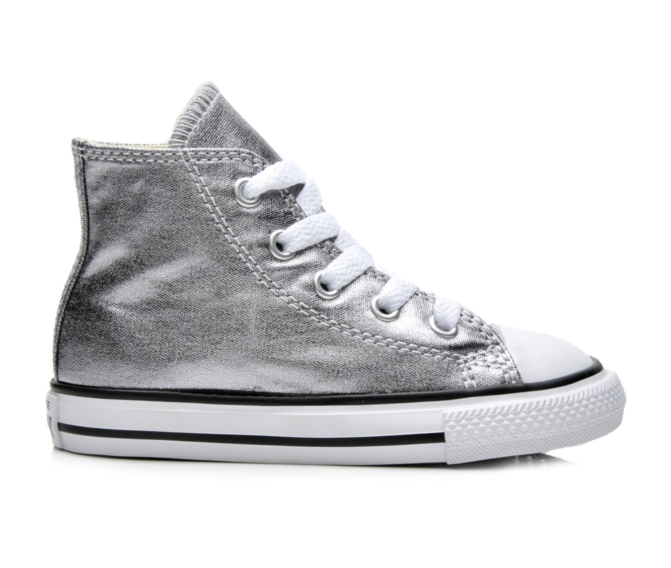 Girls' Converse Infant Chuck Taylor Hi Metallic Sneakers (Silver)