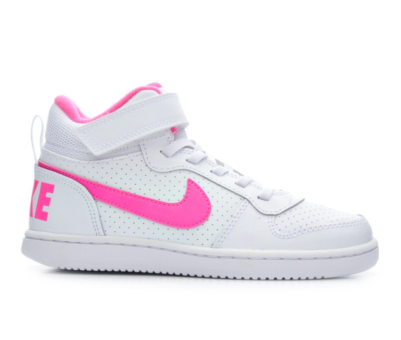 Girls' Nike Court Borough Mid PS G Sneakers (White)