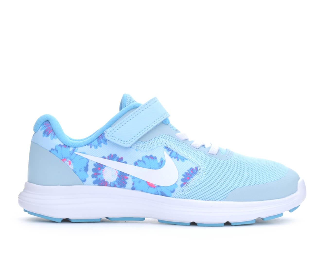 Girls' Nike Revolution 3 Print Running Shoes (Blue - Size 10.5 - Little Kid) 1646629
