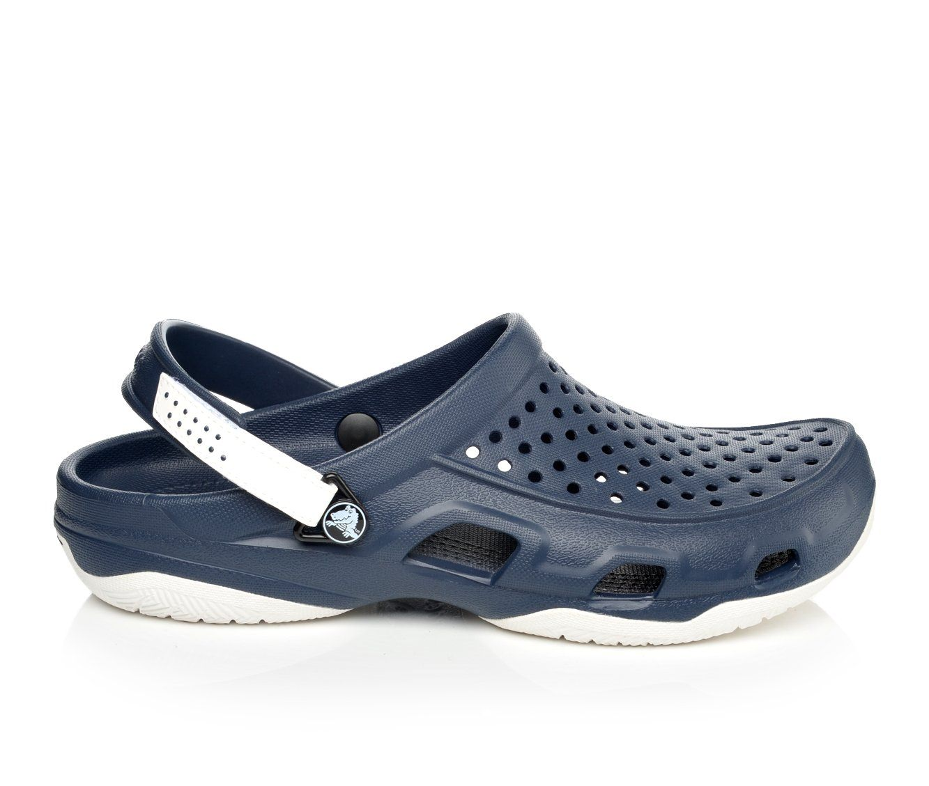 Men's Crocs Swiftwater Deck Clog Sandals (Blue)