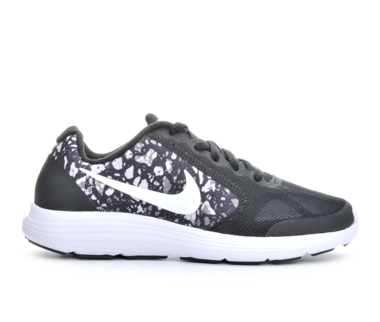 Boys' Nike Revolution 3 Print Running Shoes (Black - Size 3.5 - Big Kid) 1646428